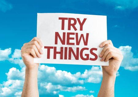 Photo for Try New Things card with sky background - Royalty Free Image