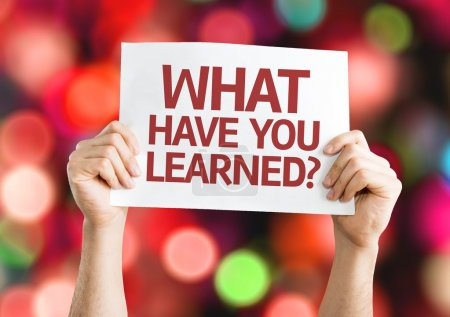 Foto de What Have You Learned? card with colorful background with defocused lights - Imagen libre de derechos