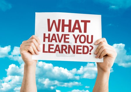 Foto de What Have You Learned? card with sky background - Imagen libre de derechos