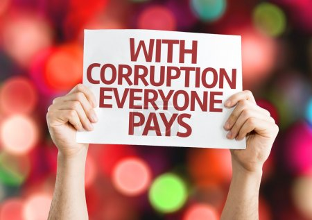 Photo for With Corruption Everyone Pays card with colorful background with defocused lights - Royalty Free Image
