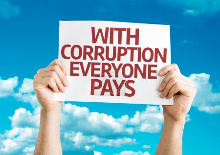 Photo for With Corruption Everyone Pays card with sky background - Royalty Free Image