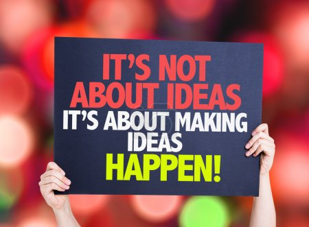 Photo for It's Not About Ideas Its About Making Ideas Happen card with bokeh background - Royalty Free Image