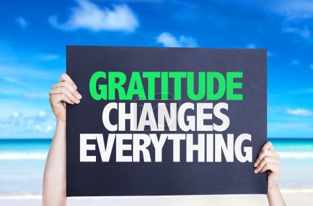Photo for Gratitude Changes Everything card with beach background - Royalty Free Image
