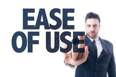 Photo pour Homme d'affaires pointant le texte : Facilité d'utilisation - image libre de droit