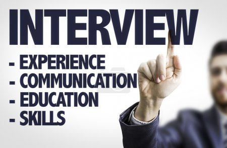 Photo for Business man pointing the text: Interview - Royalty Free Image
