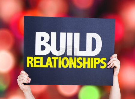 Photo for Build Relationships card with bokeh background - Royalty Free Image