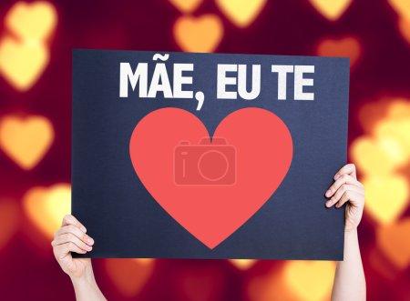 Photo pour Mère je t'aime (en portugais) carte avec fond bokeh coeur - image libre de droit