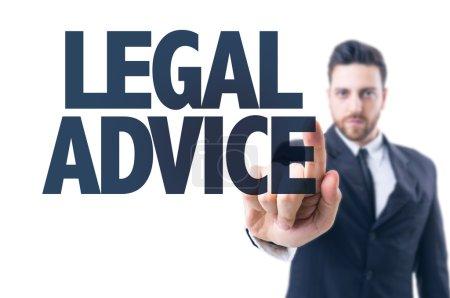 Photo pour Homme d'affaires pointant vers le texte : conseils juridiques - image libre de droit