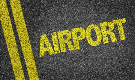 Photo for Airport yellow text written on the road - Royalty Free Image