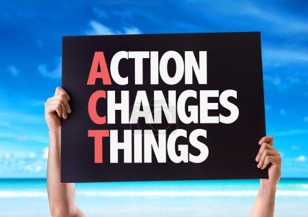 Photo pour Action Change Choses carte avec fond de plage - image libre de droit