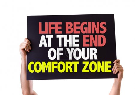 Photo for Life Begins at the End of Your Comfort Zone card isolated on white background - Royalty Free Image