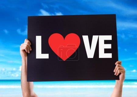 Photo pour Carte texte amour avec fond de plage - image libre de droit