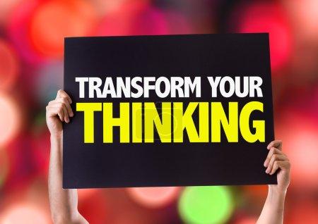 Photo pour Transformer la pensée votre carte avec fond bokeh - image libre de droit