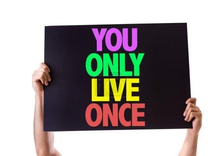 Photo pour Vous Only Live Once carte isolé sur fond blanc - image libre de droit
