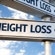 Weight Loss direction sign on sky background...