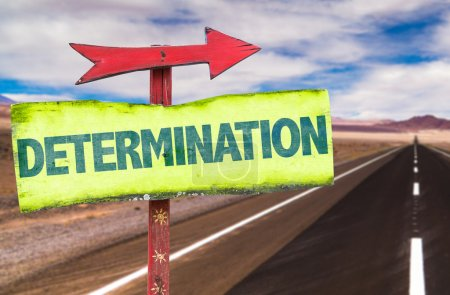 Photo for Determination text sign with road background - Royalty Free Image
