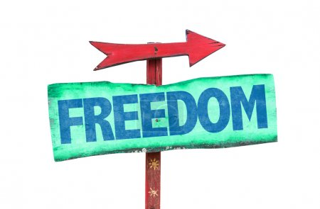 Freedom wooden sign