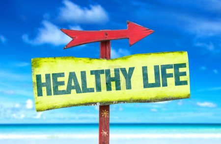 Photo for Healthy life text sign with beach background - Royalty Free Image