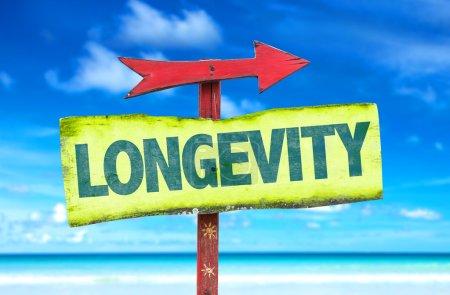Photo pour Longévité signe texte avec fond de plage - image libre de droit