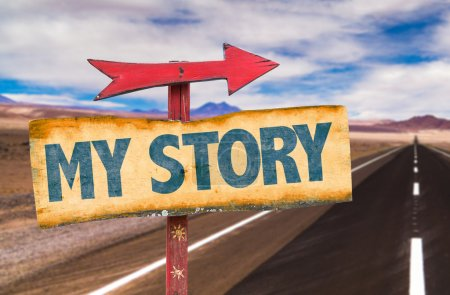 My Story text sign with road background...