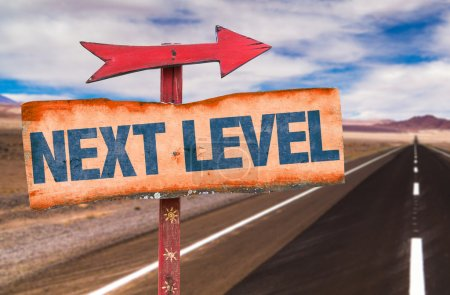 Photo for Next Level text sign  with road background - Royalty Free Image