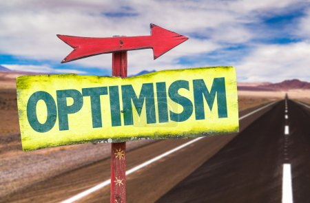 Photo for Optimism text sign  with road background - Royalty Free Image
