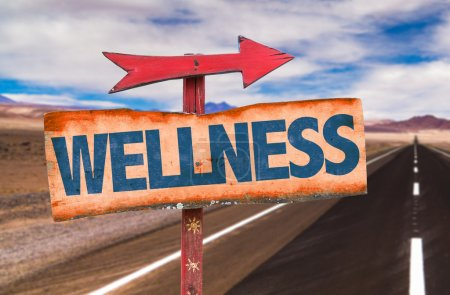 Photo for Wellness wooden sign  with road background - Royalty Free Image