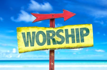 Worship wooden sign
