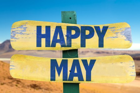 Happy May wooden sign