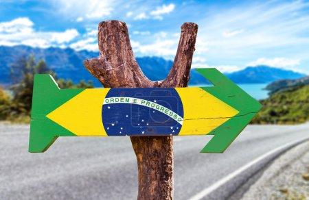 Brazil Flag wooden sign