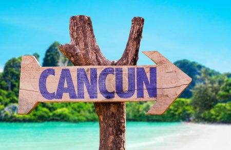Cancun wooden sign