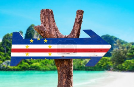 Cape Verde Flag wooden sign