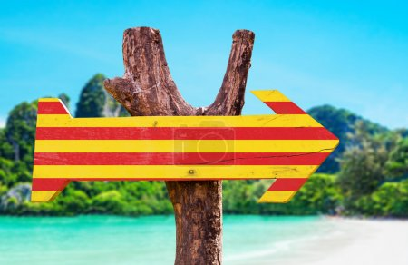 Catalonia Flag wooden sign