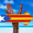 Catalonia Flag wooden sign with beach background...