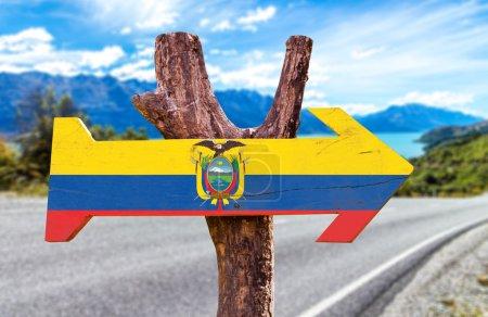 Ecuador Flag wooden sign