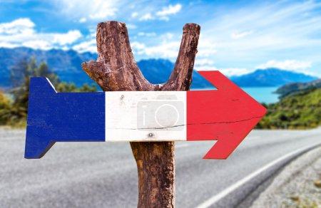 France Flag wooden sign