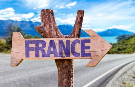 France wooden sign