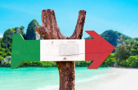 Italy flag wooden sign