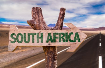 South Africa wooden sign with desertic road backgr...