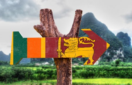 Photo for Sri Lanka Flag wooden sign with nature background - Royalty Free Image