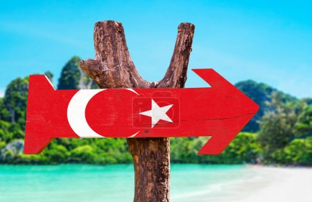 Turkey Flag wooden sign with beach background...