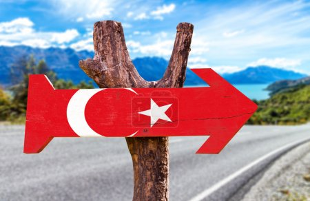 Turkey Flag wooden sign with road background...