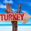 Turkey wooden sign with beach background...