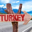 Turkey wooden sign with road background...