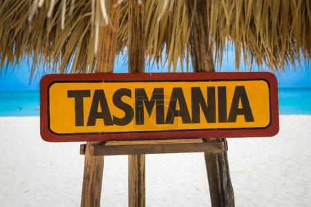Tasmania sign with beach