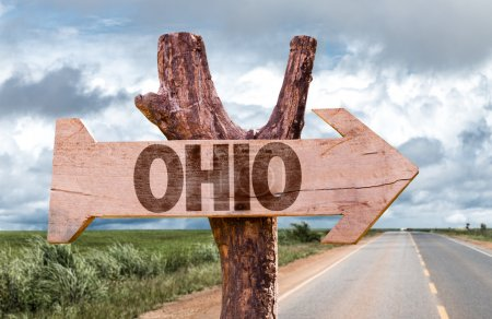Ohio wooden sign with agriculture landscape on bac...