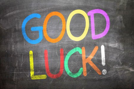 Photo for Good Luck colorful letters written on a chalkboard - Royalty Free Image