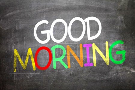 Photo for Good Morning white, colorful letters written on a chalkboard - Royalty Free Image