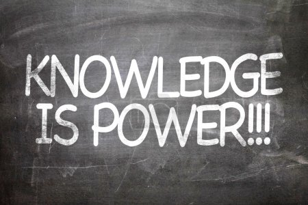 Photo for Knowledge is Power white letters written on a chalkboard - Royalty Free Image