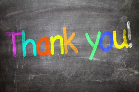 Photo for Thank You colorful letters written on a chalkboard - Royalty Free Image